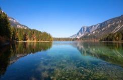 Vista outonal do lago Tovel, Val di Non dentro do parque natural de Adamello-Brenta, Trentino Alto-Adige, Itália imagens de stock