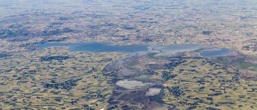 Vista panorámica aérea de las tierras de labrantío en Etiopía imagen de archivo