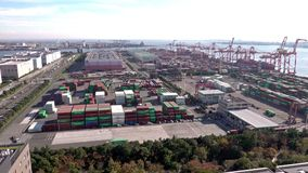 Vista panorámica aérea del puerto de Tokio, Japón almacen de video