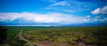 Vista panorámica al chamo y a los lagos Abaya en el parque nacional de Nechisar, Arba Minch, Etiopía Fotos de archivo