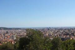Vista panorámica de Barcelona de Parc de Montjuic Fotos de archivo libres de regalías