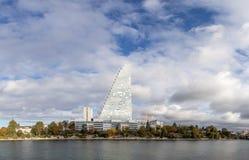 Vista panorámica de Basilea con la torre de Roche foto de archivo libre de regalías