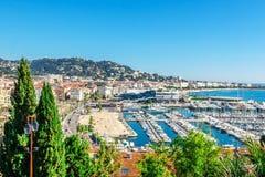Vista panorámica de Cannes, Francia Foto de archivo libre de regalías