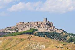 Vista panorámica de Craco Basilicata Italia Imagenes de archivo