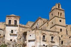 Vista panorámica de Craco Basilicata Italia Imágenes de archivo libres de regalías