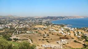 Vista panorámica de Faliraki, Rodas, Grecia Imágenes de archivo libres de regalías