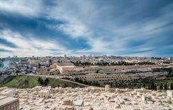 Vista panorámica de Jerusalén con la bóveda de la roca y de la Explanada de las Mezquitas Fotografía de archivo