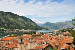 Vista panorámica de Kotor y bahía de Kotor Fotografía de archivo libre de regalías