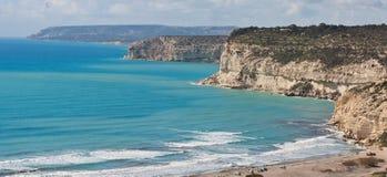 Vista panorámica de la bahía de Kurion en Chipre Fotos de archivo libres de regalías