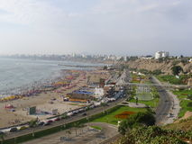 Vista panorámica de la bahía de Lima de Chorrillos Imagenes de archivo