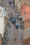 Vista panorámica de la calle de Ilica en Zagreb Fotografía de archivo libre de regalías