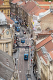 Vista panorámica de la calle de Ilica en Zagreb Imagen de archivo libre de regalías