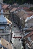 Vista panorámica de la calle de Ilica en Zagreb Foto de archivo