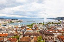 Vista panorámica de la ciudad de Ginebra Foto de archivo libre de regalías