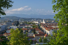 Vista panorámica de la ciudad de Ljubljana, Eslovenia Imagenes de archivo