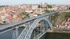 Vista panorámica de la ciudad de Oporto, Portugal almacen de video
