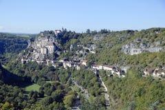 Vista panorámica de la ciudad episcopal en Rocamadour, Francia Imagenes de archivo