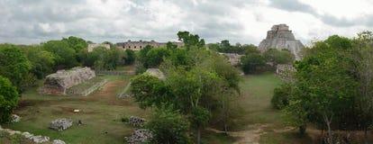 Vista panorámica de la ciudad maya de Uxmal Imagen de archivo libre de regalías