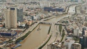 Vista panorámica de la ciudad o de Saigon de Ho Chi Minh Vietnam almacen de video