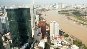 Vista panorámica de la ciudad o de Saigon de Ho Chi Minh Vietnam Imagen de archivo libre de regalías