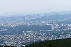 Vista panorámica de la ciudad de Shillong del pico de Shillong, Meghalaya imágenes de archivo libres de regalías