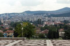 Vista panorámica de la ciudad de Stara Zagora, Bulgaria imágenes de archivo libres de regalías