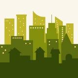 Vista panorámica de la ciudad verde con horizontes y casas Imagen de archivo