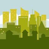 Vista panorámica de la ciudad verde con horizontes y casas Foto de archivo libre de regalías