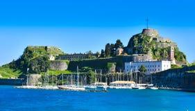 Vista panorámica de la fortaleza venecian vieja en la ciudad de Corfú Fotos de archivo libres de regalías