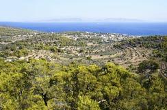 Vista panorámica de la isla de Aegina Fotos de archivo libres de regalías