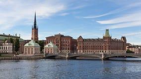 Vista panorámica de la isla de Estocolmo Riddarholmen Imagen de archivo libre de regalías