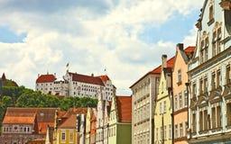 Vista panorámica de Landshut, ciudad bávara cerca de Munich Imagen de archivo