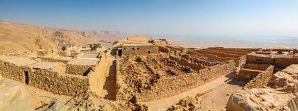 Vista panorámica de las paredes y de los edificios de Masada foto de archivo libre de regalías