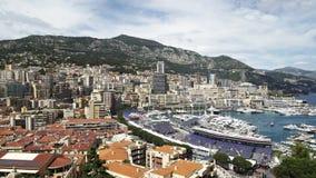 Vista panorámica de Mónaco Monte Carlo en la primavera de 2018, edificios de lujo almacen de metraje de vídeo
