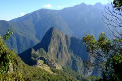 Vista panorámica de Machu Picchu de la montaña de Machu Picchu imagenes de archivo