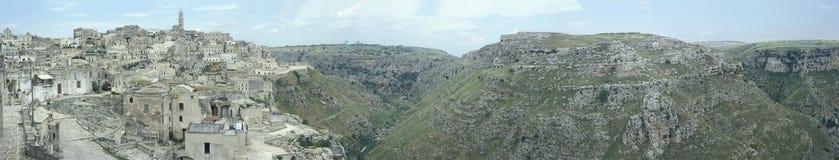 Vista panorámica de Matera, Italia Fotografía de archivo