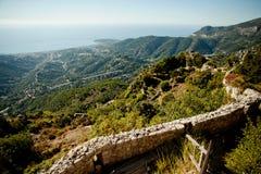 Vista panorámica de Menton, Cote d'Azur, Francia Imagenes de archivo