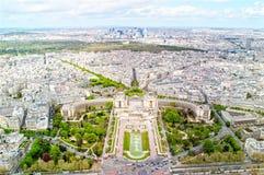 Vista panorámica de París de la torre Eiffel Imágenes de archivo libres de regalías