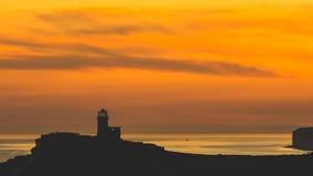 Vista panorámica de siete acantilados de las hermanas en la puesta del sol Imágenes de archivo libres de regalías