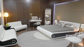 Vista panorámica de un dormitorio moderno almacen de video