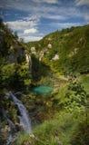 Vista panorámica de un parque nacional de Plitvice de la cascada Fotografía de archivo