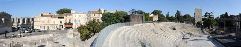 Vista panorámica del amphithater en Arles Imagenes de archivo