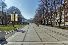 Vista panorámica del centro de la ciudad de Pernik, Bulgaria fotos de archivo