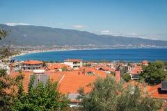 Vista panorámica del centro turístico Stavros de Grecia Imágenes de archivo libres de regalías