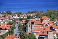 Vista panorámica del centro turístico Stavros de Grecia Imagenes de archivo