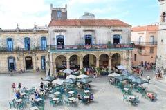 Vista panorámica del cuadrado de la catedral, La Habana Fotos de archivo