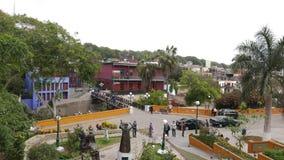 Vista panorámica del distrito de Barranco de Lima Bridge de vistas y de jardines en diversos niveles Fotografía de archivo