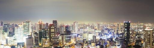 Vista panorámica del horizonte en Osaka, Japón fotografía de archivo
