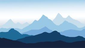 Vista panorámica del paisaje de la montaña con niebla en el valle abajo con el cielo azul del alpenglow ilustración del vector