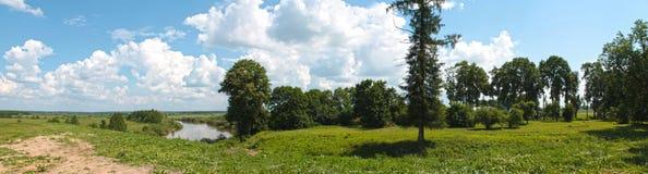 Vista panorámica del paisaje del verano con un río, un cielo azul y orillas, cubiertos con la hierba verde y los árboles de hojas Imagen de archivo libre de regalías
